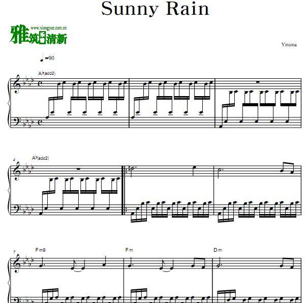 李闰珉 yiruma - sunny rain原版钢琴谱 正谱