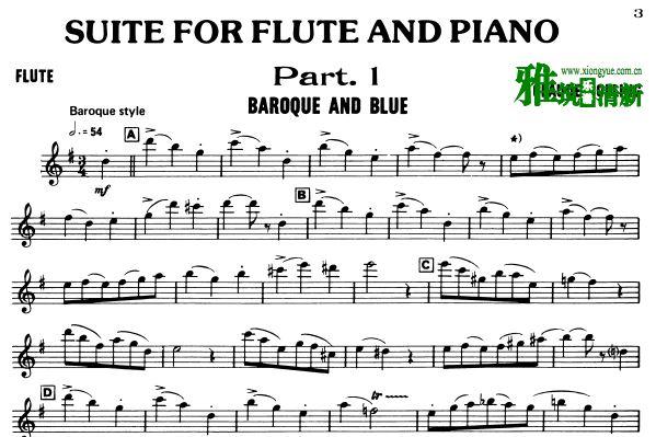 克劳博林 - - Suite for Flute Jazz Piano Trio乐谱 - 长笛谱