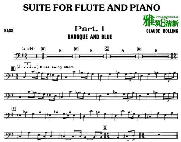 Claude Bolling - Baroque and Blue长笛和爵士钢琴三重奏 - BASS谱