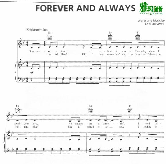 Taylor Swift  - forever and always钢琴谱