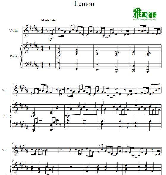 米津玄师 Lemon小提琴钢琴
