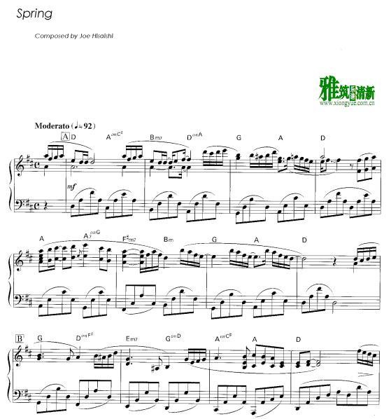 久石让 春spring钢琴谱