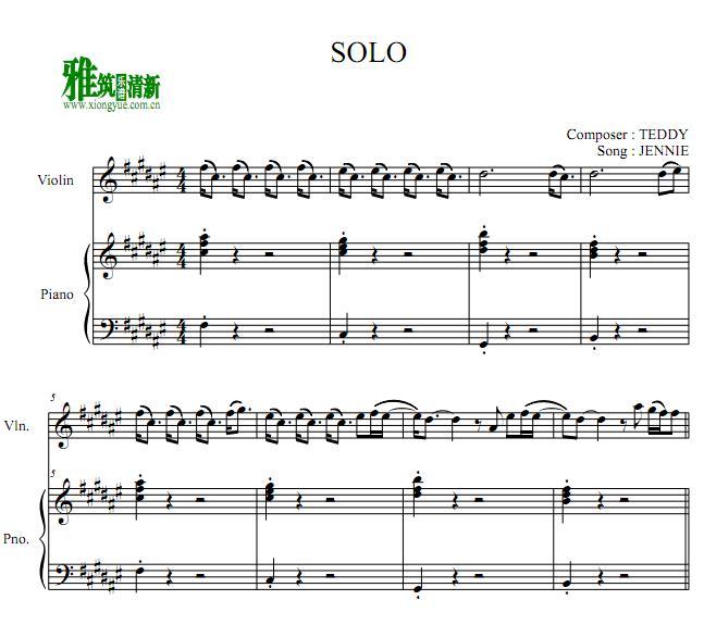 jennie solo小提琴钢琴伴奏谱