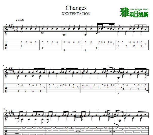 XXXTENTACION - Changes 吉他谱