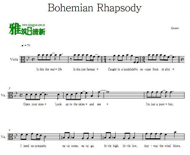 波西米亚狂想曲Bohemian Rhapsody中提琴谱