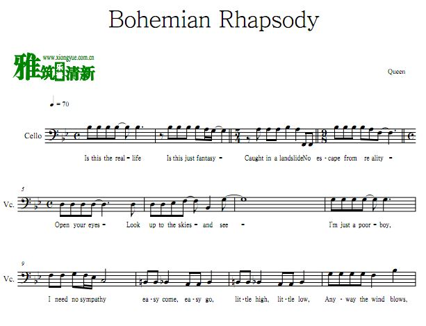 波西米亚狂想曲Bohemian Rhapsody大提琴谱