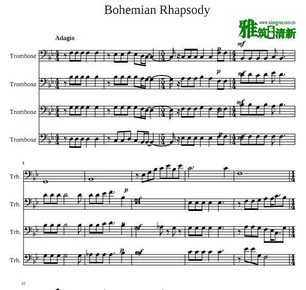 波西米亚狂想曲 Bohemian Rhapsody长号四重奏总谱分谱