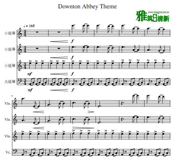 唐顿庄园主题曲三小提琴大提琴合奏谱 弦乐四重奏谱