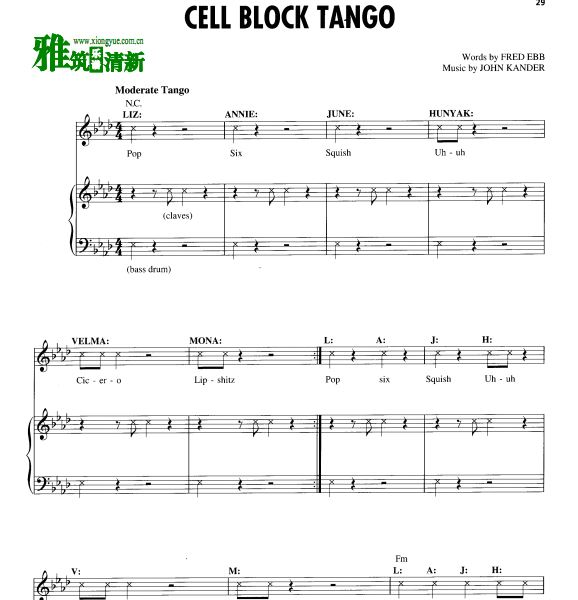 音乐剧 Chicago芝加哥  CELL BLOCK TANGO声乐谱 钢琴伴奏谱