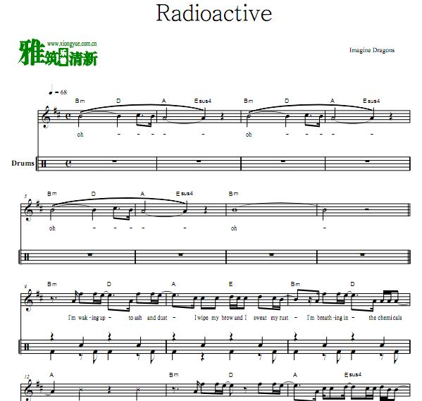 梦龙 Imagine Dragons - Radioactive乐队鼓谱