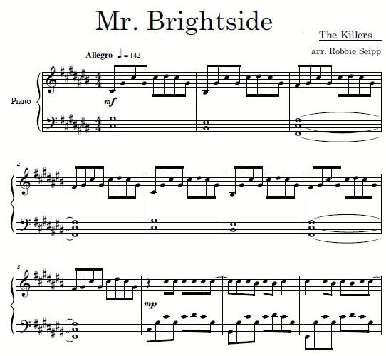 mr. brightside钢琴谱